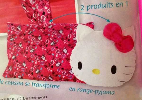 coussin range pyjama hello kitty 2en1 promo. Black Bedroom Furniture Sets. Home Design Ideas